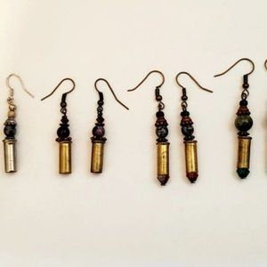 Bullets, Crystals & Bling Earrings. 4 Pr-Assorted.